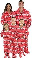 SleepytimePjs Family Matching Red Snowflake Onesie PJs Footed Pajamas