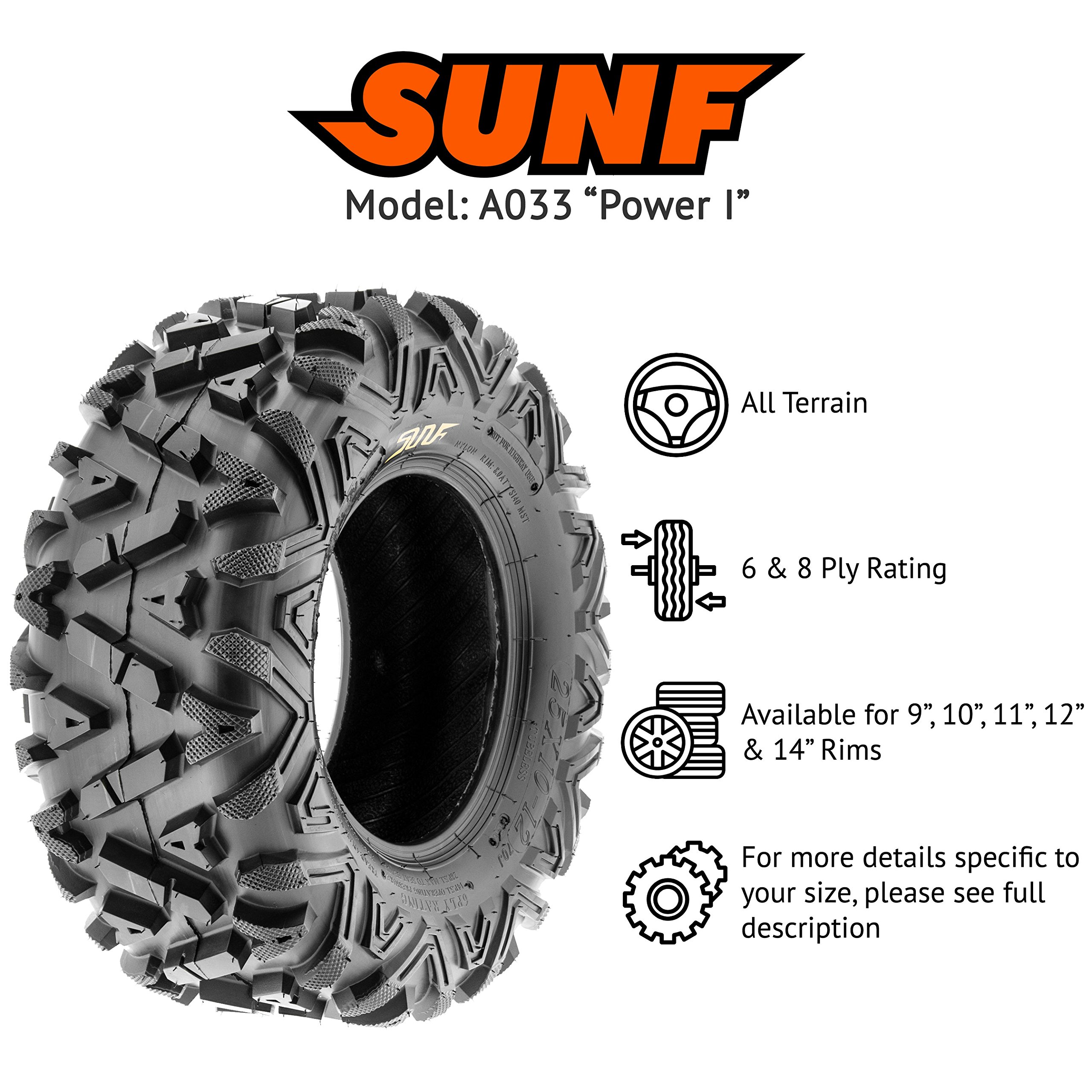 Pair of 2 SunF A033 Power.I AT 25x10-11 ATV UTV Off-Road Tires, All-Terrain, 6 PR, Tubeless by SUNF (Image #2)