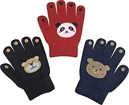 NIce Caps Toddler Boys and Infants Magic Stretch Mittens 3 Pairs Assortment