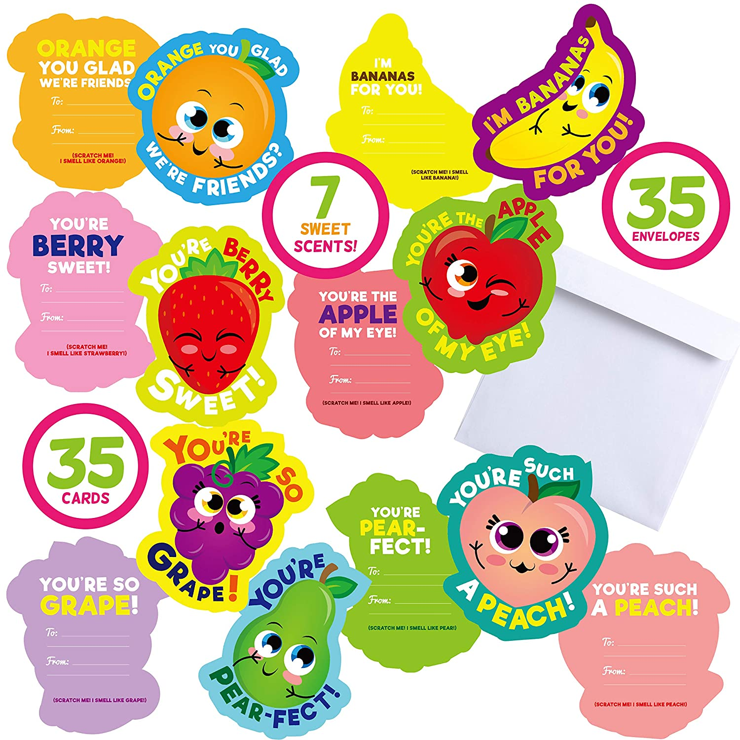 7 Different Fruit Scents Envelope Included Joyin Inc Joyin 35 Pieces Valentines Day Gifts Cards for Kids with Scratch and Sniff Cards Valentine Classroom Exchange Cards Party Favor