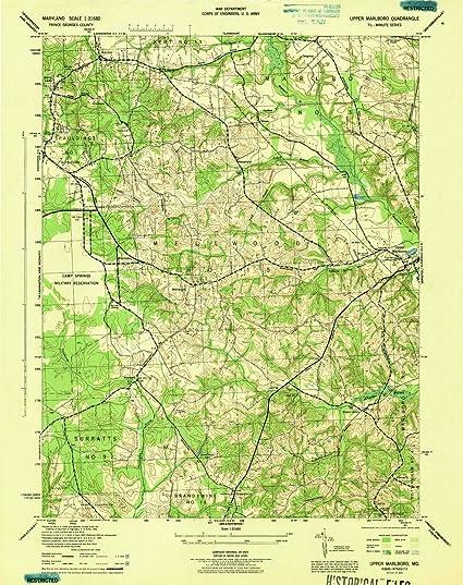 Amazon.com : YellowMaps Upper Marlboro MD topo map, 1:31680 Scale ...
