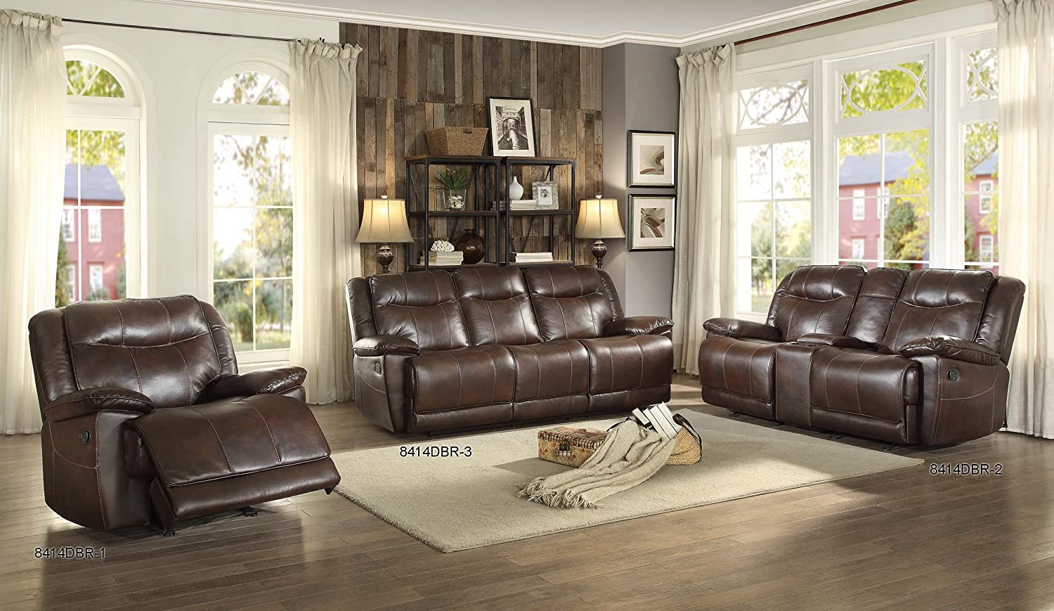Amazon.com Homelegance Triple Reclining Sofa in Dark Brown Leather Gel Match Kitchen u0026 Dining & Amazon.com: Homelegance Triple Reclining Sofa in Dark Brown ... islam-shia.org