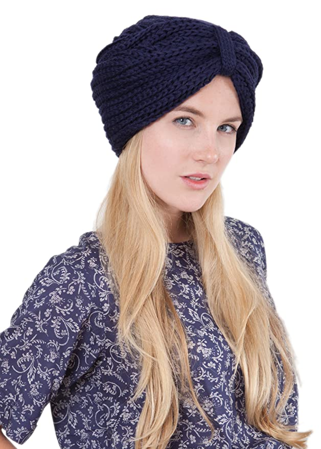 afa3fc491d2 Merino Wool Knitted Turban Hat Navy  Amazon.co.uk  Clothing