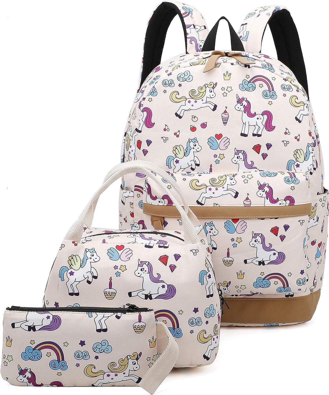 Girls School Backpack Unicorn Teens Bookbag Set Kids bag School Laptop Backpack with Lunch Box Purse