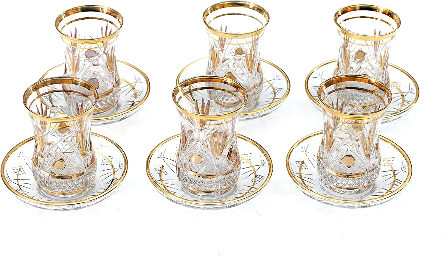 Gold 24 Pieces Harman Turkish Tea Cups Saucers Set With Spoons, For 6 Person