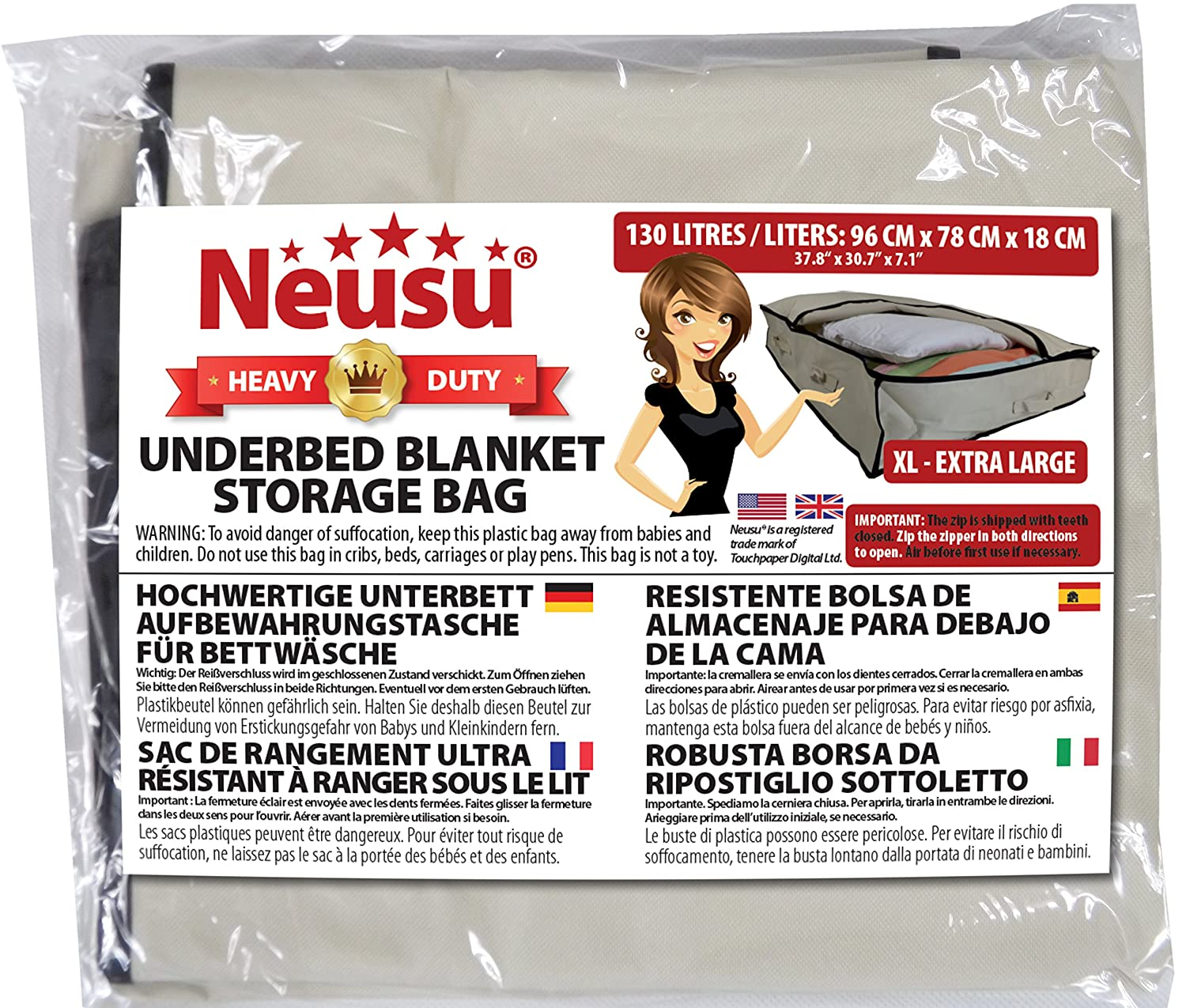 Neusu Under Bed Storage Bag XL - Beige, Extra Large, 130 Liters, 37.8
