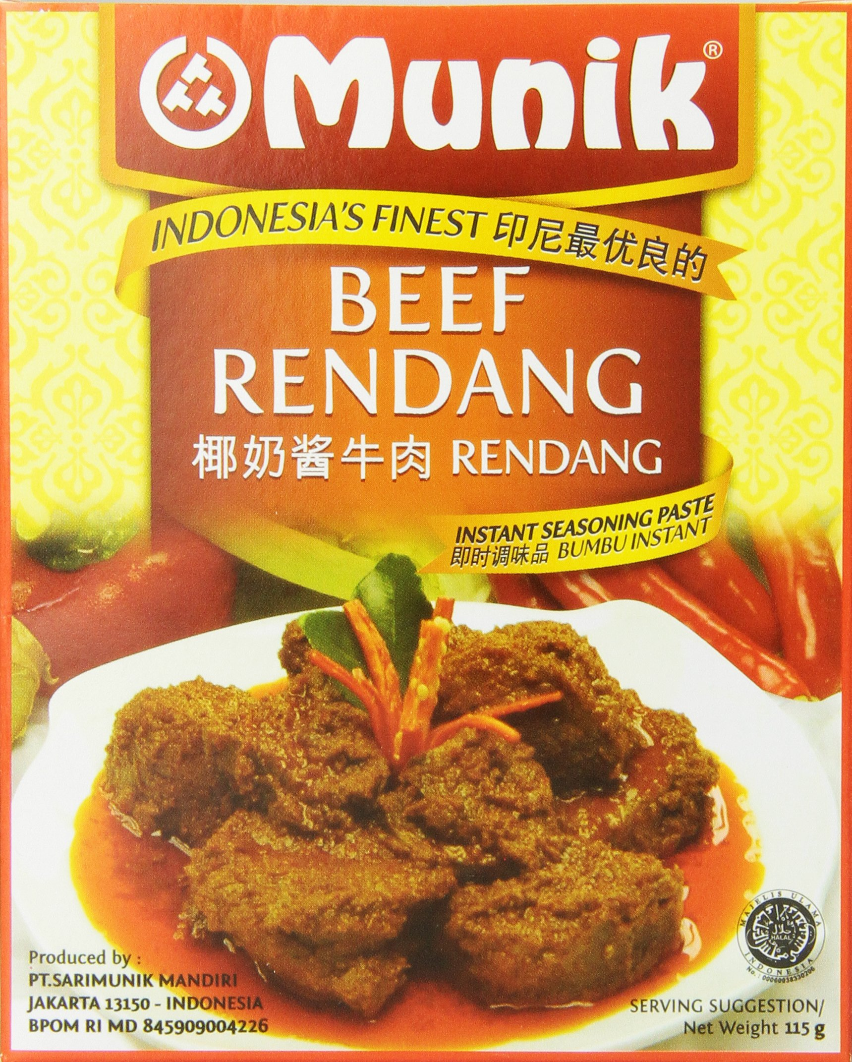 Munik Rendang Beef in Chili and Coconut Milk, 115-Gram