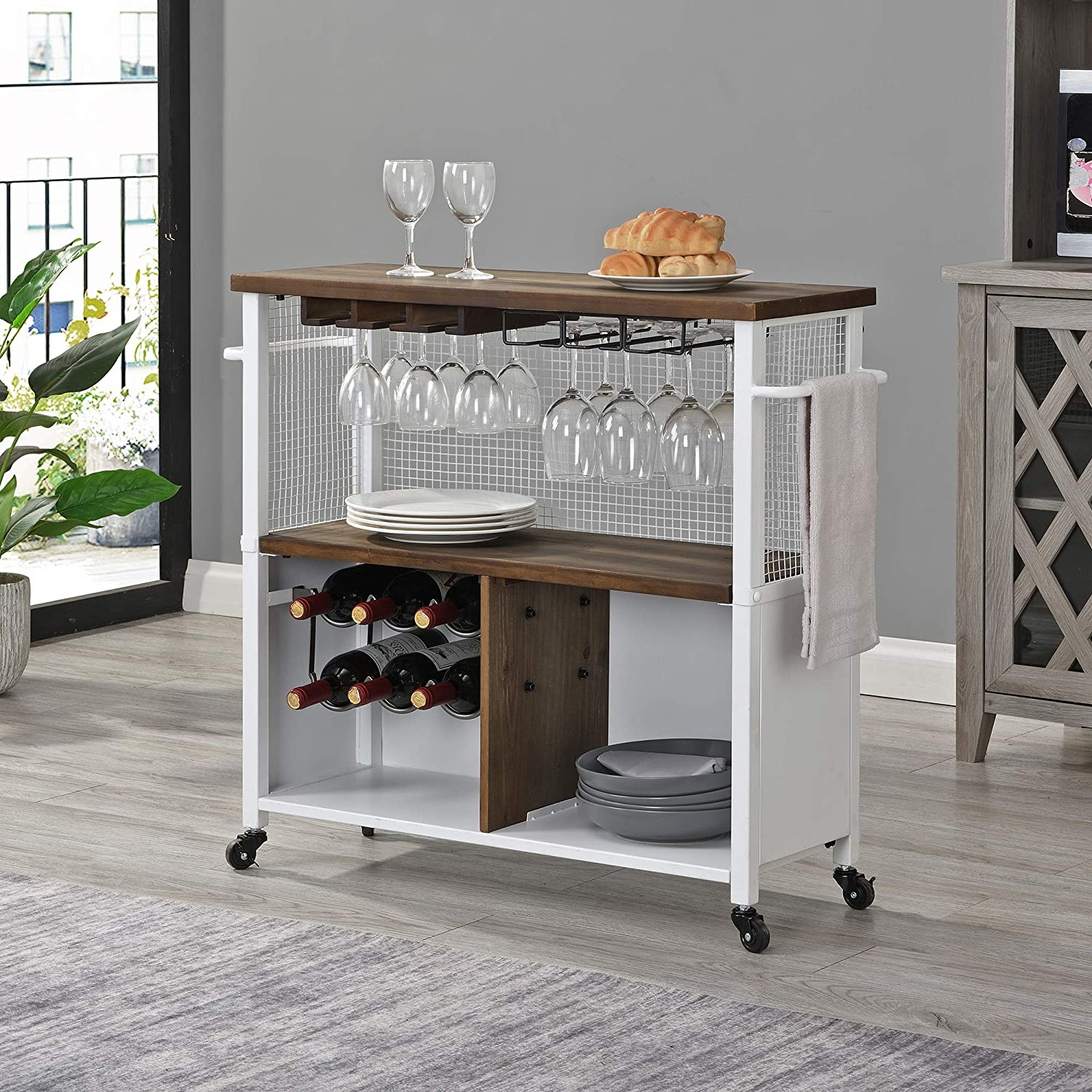 FirsTime & Co. White Chandler Farmhouse Kitchen Cart, American Designed, White, 31.5 x 12 x 31.5 inches, 70252