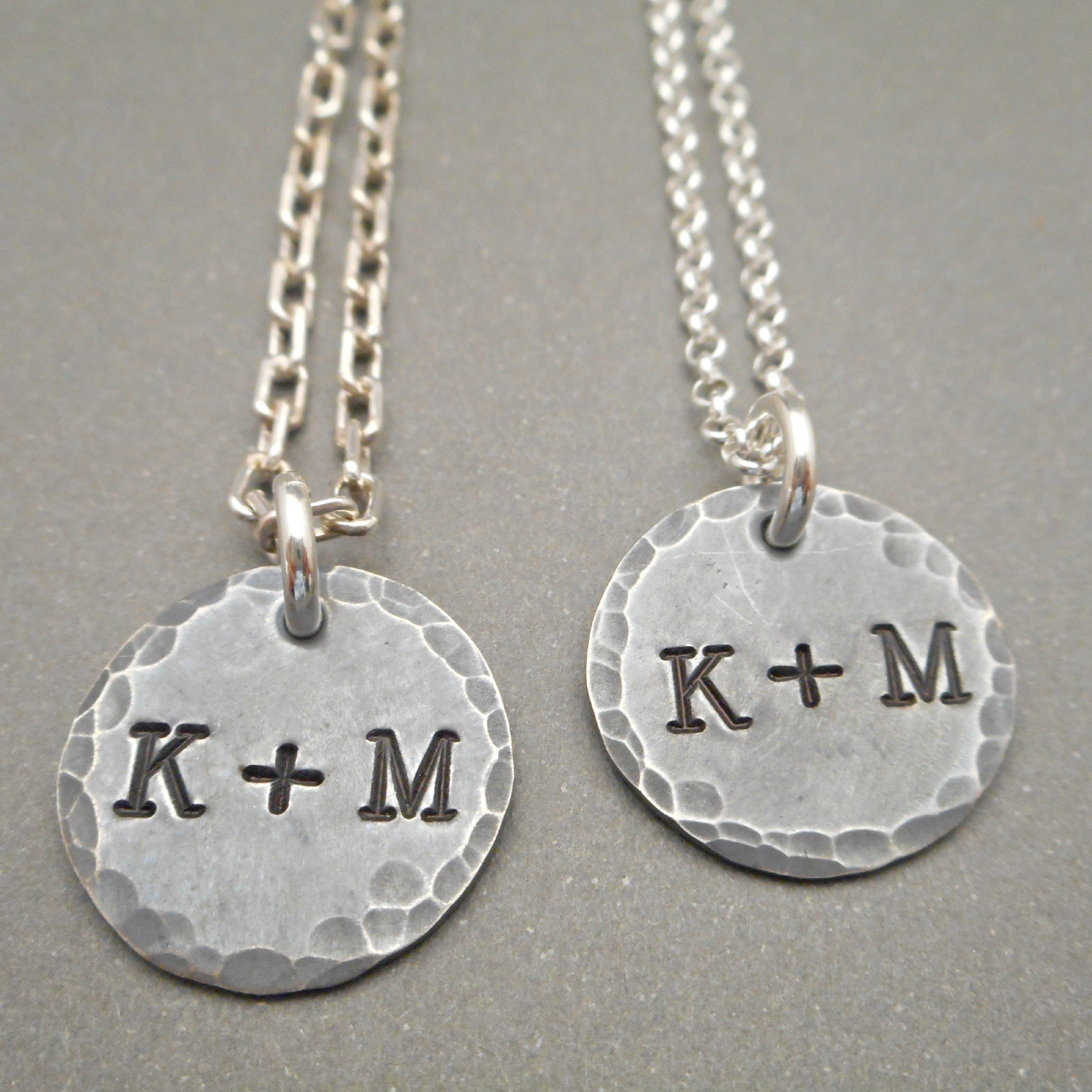 His and Hers Necklaces Hand Stamped matching sets