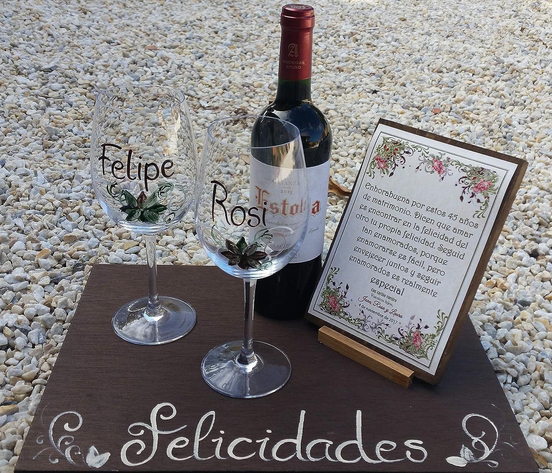 Regalo Aniversario, Boda de Plata Oro personalizado con copas, vino y tabla