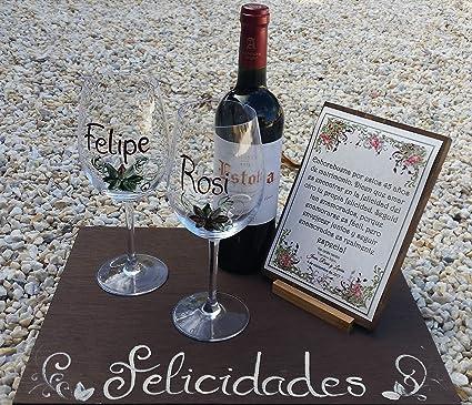 Regalo Boda de Plata/Oro personalizado con copas, vino y tabla
