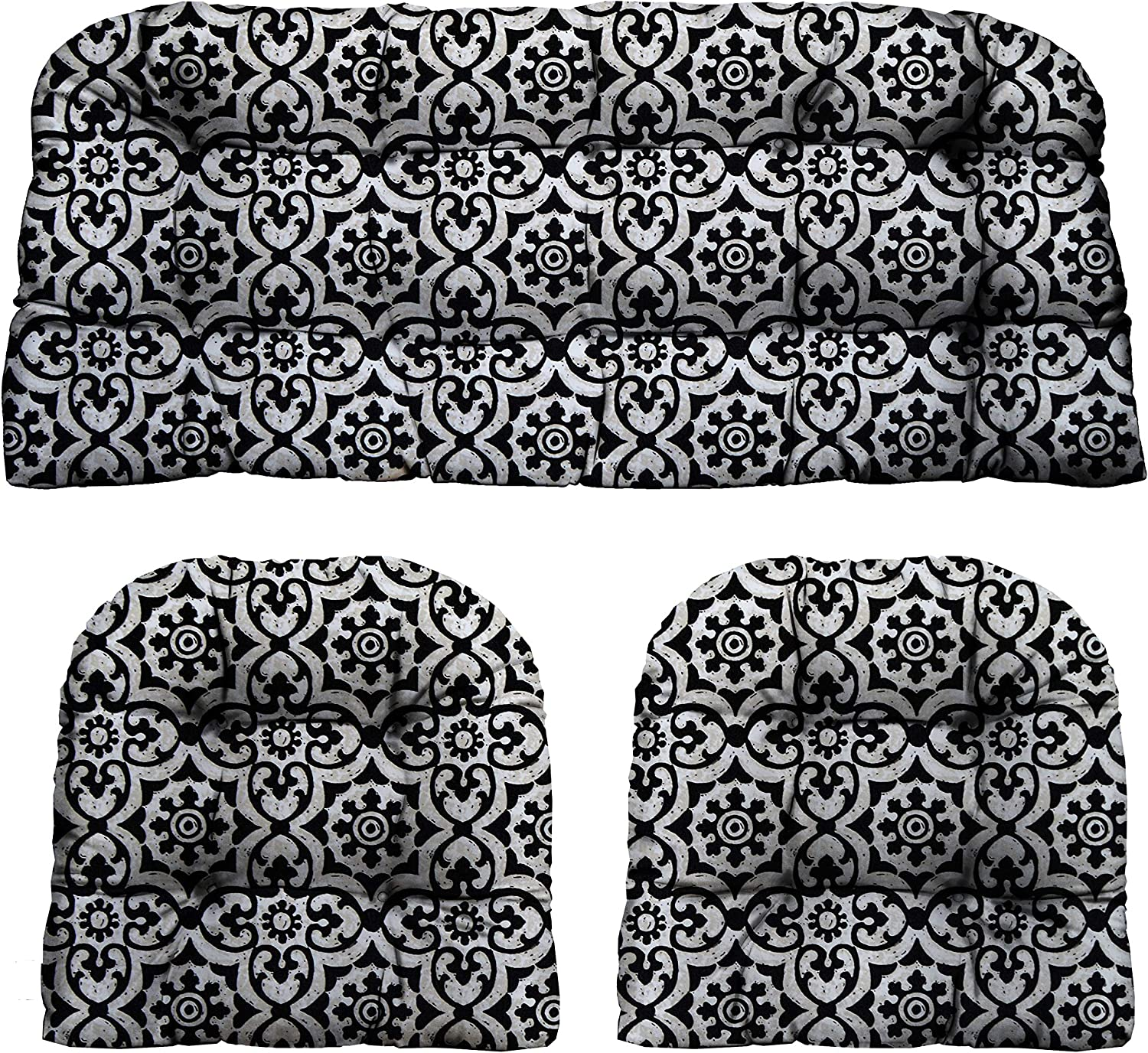 RSH D cor Indoor Outdoor Decorative 3 Piece Tufted Love Seat Settee 2 U-Shaped Chair Cushion Set for Wicker Standard 2-19 x19 41 x19 , Athens Matte Black Fretwork