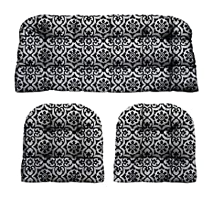 """RSH Décor Indoor Outdoor Decorative 3 Piece Tufted Love Seat/Settee & 2 U-Shaped Chair Cushion Set for Wicker (Standard ~ 2-19""""x19"""" & 41""""x19"""", Athens Matte Black Fretwork)"""