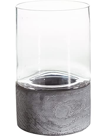 b6f3d7612b Rivet Mid Century Modern Concrete and Glass Decor Candle Holder - 8.8 Inch,  Grey