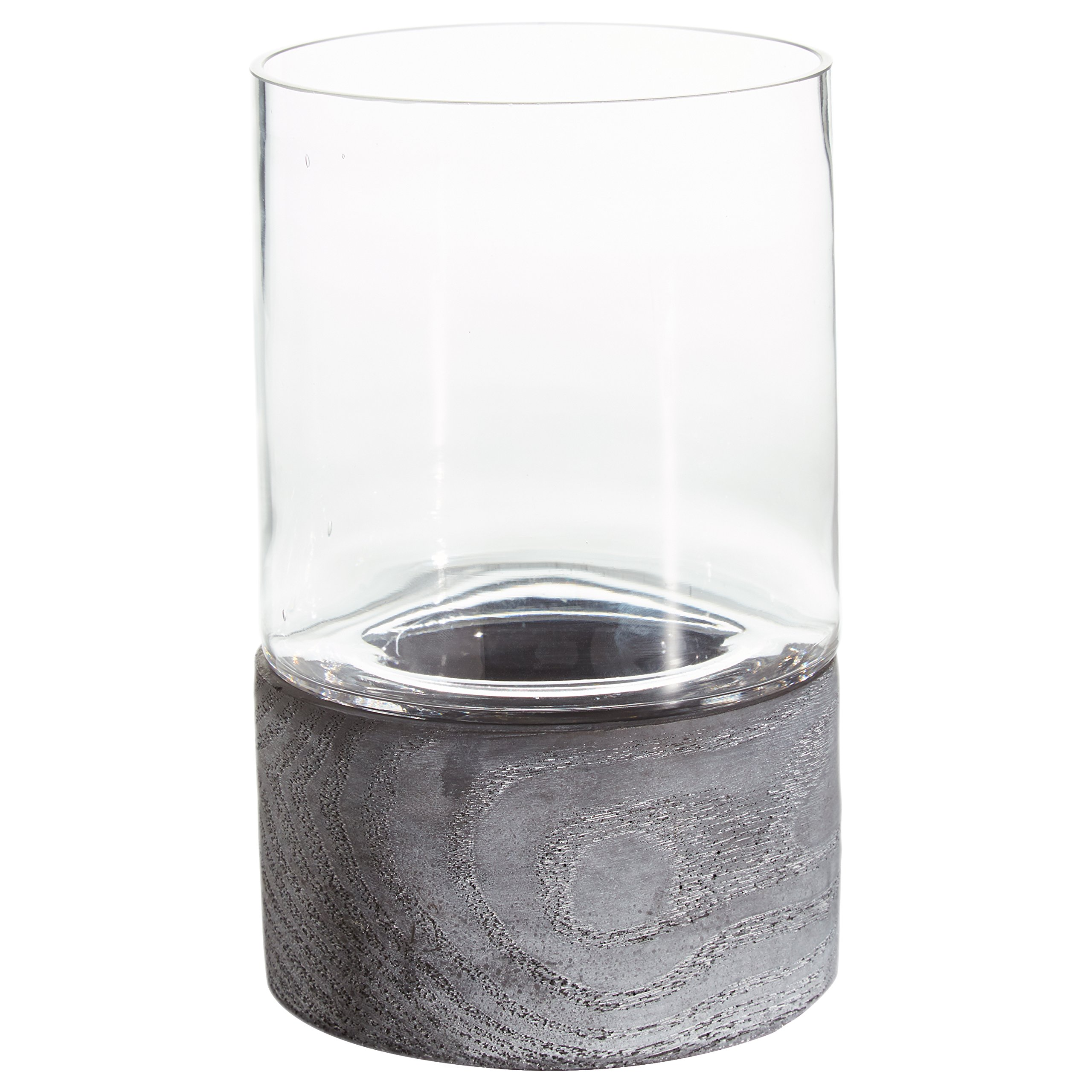 Rivet Mid Century Modern Concrete and Glass Decor Candle Holder - 8.8 Inch, Grey