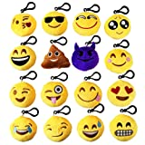 "Amazon Price History for:MelonBoat 16 Pack Emoji Mini Plush Pillows, Keychain Decorations, Kids Party Supplies Favors, 2"" Set of 16"