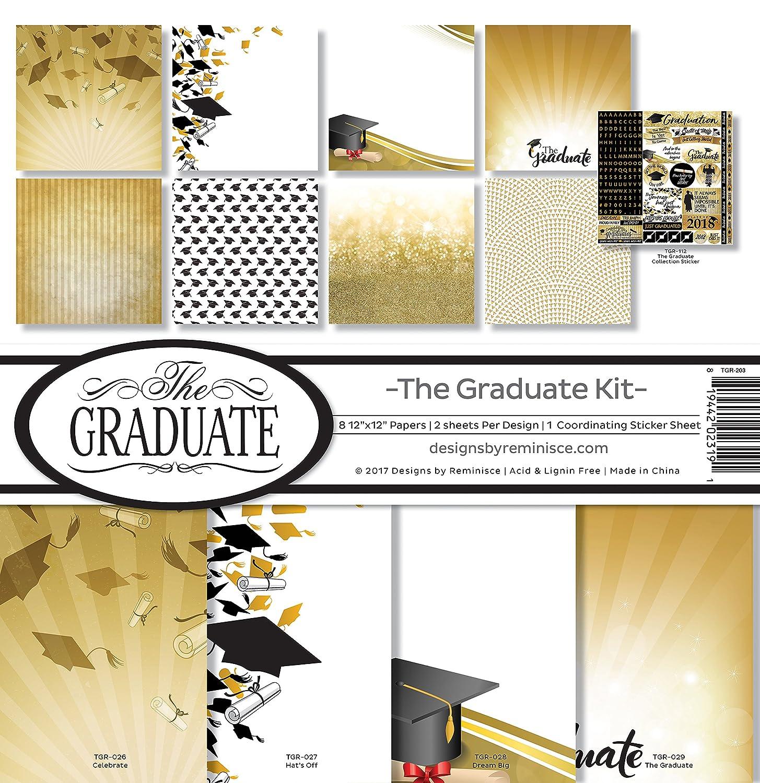 Reminisce TGR-203 The Graduate 2018 Scrapbook Collection Kit, Multi Color Palette