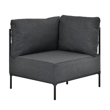 [en.casa]® Sillón de esquina gris - modular - decorativo - estructura + cojines tapizados - máximo confort