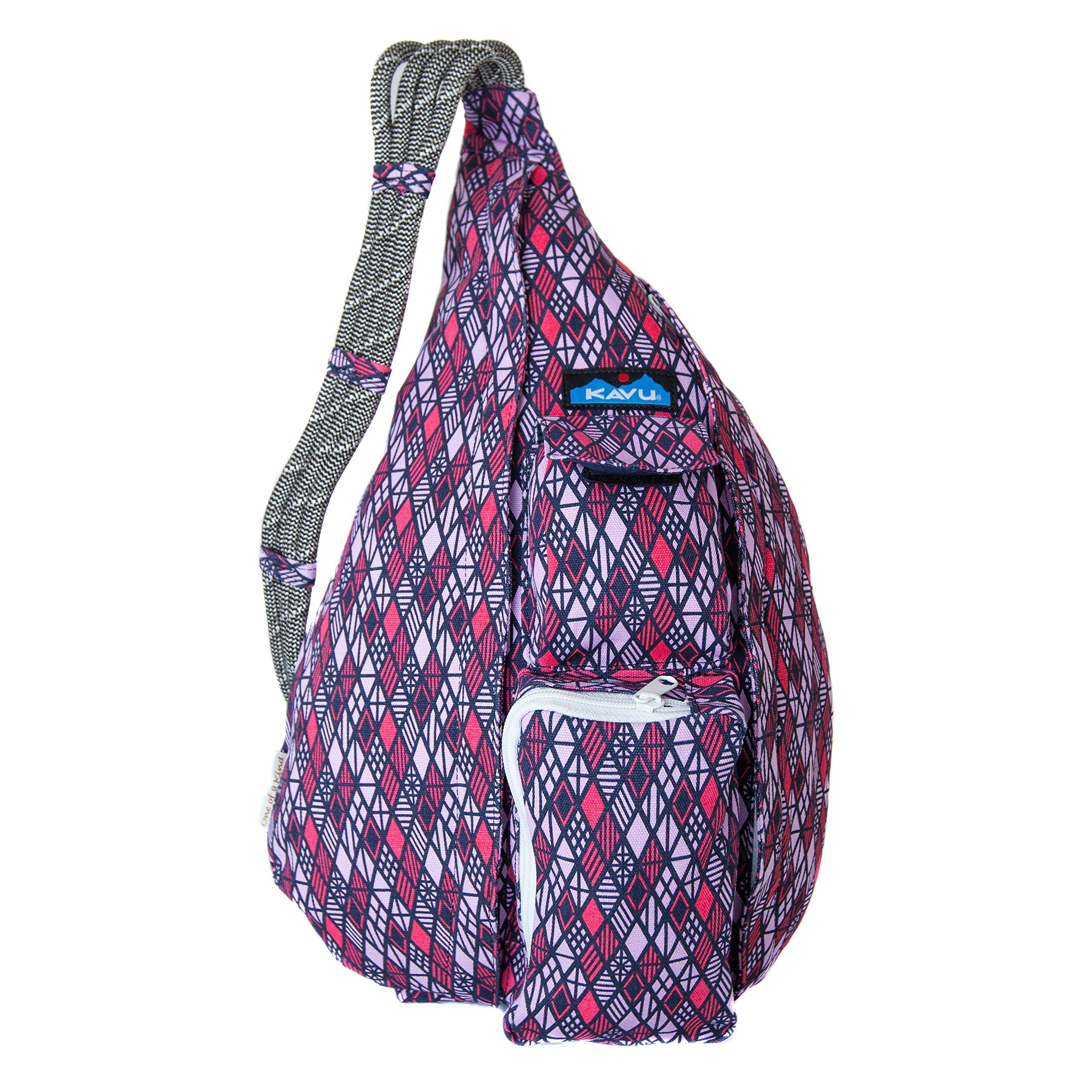 KAVU Rope Bag Shoulder Sling Cotton Crossbody Backpack - Diamonds by KAVU
