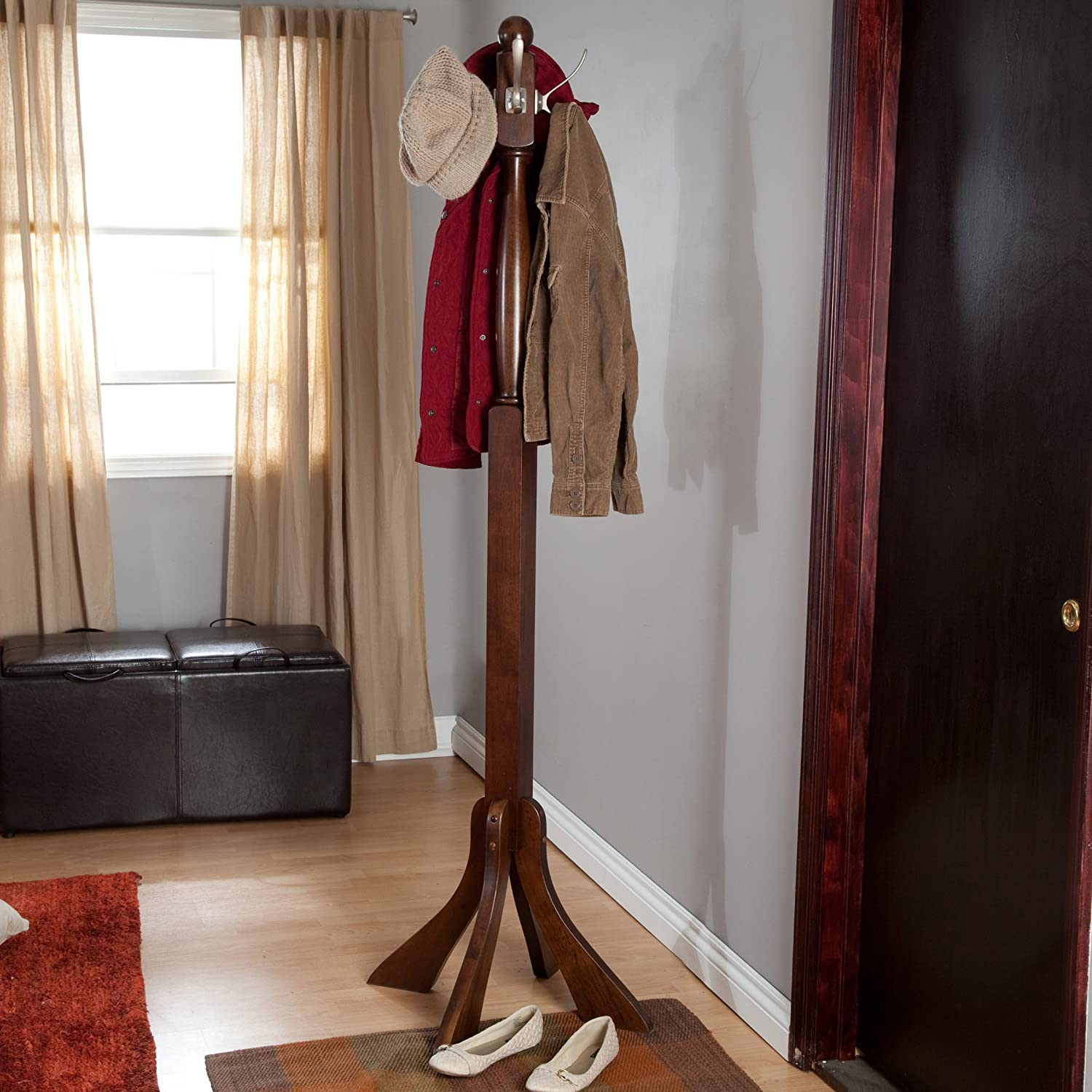 Free-standing Coat Rack From Solid Wood, with Metal Hook