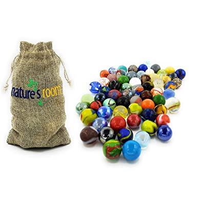 """Naturesroom Glass Shooter Marbles for Kids - 1"""" Shooter Marbles for Games and Home Decorations - Set of 50 Assorted Colors Bulk with Storage Bag: Toys & Games"""