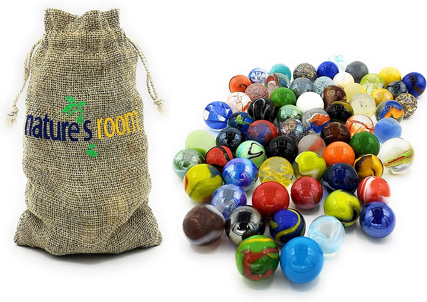 """Glass Marbles Game Shooters 1/"""" 10 pcs Handmade Glass Wht w//grn /& red spots"""