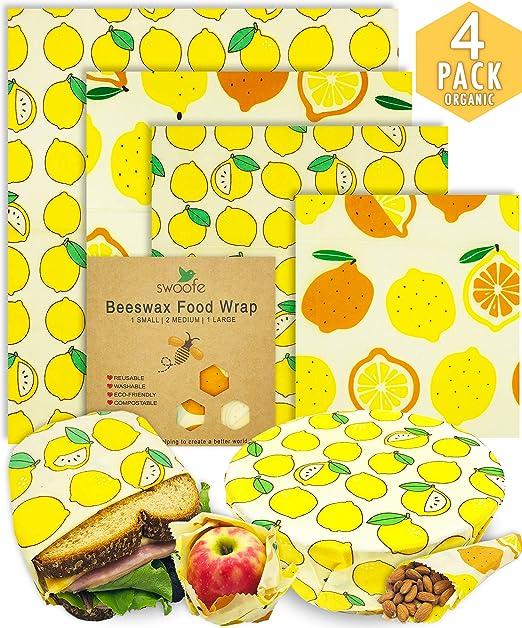 Beeswax WRAP - 4 cera de abeja reutilizable para envolver ...