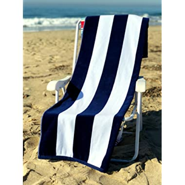 Ephesus Beach Towel Cabana Striped One Side Terry and One Side Velour 35 x60  Large Towels - Navy - Set of 2