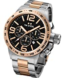 TW Steel CB134 Men's XXL Chronograph Stainless Canteen Two-Tone Bracelet Band Black Dial Watch