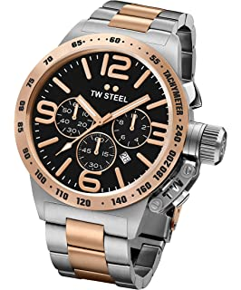 TW Steel CB134 Mens XXL Chronograph Stainless Canteen Two-Tone Bracelet Band Black Dial Watch