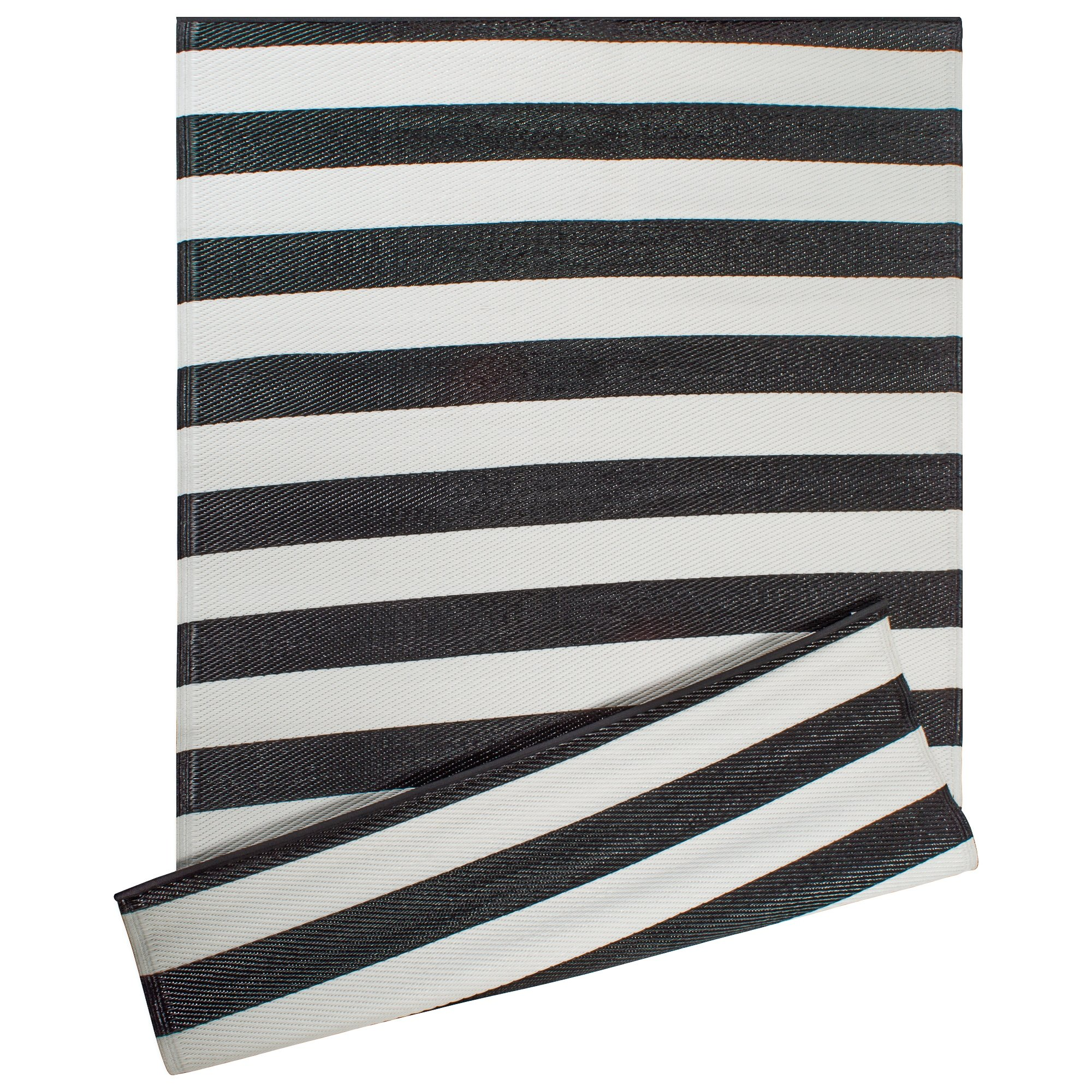 DII Contemporary Indoor/Outdoor Lightweight Reversible Fade Resistant Area Rug, Great for Patio, Deck, Backyard, Picnic, Beach, Camping, BBQ, 4 x 6', Black/White 3.5'' Stripe