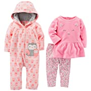 Simple Joys by Carter's Baby Girls' 3-Piece Playwear Set, Pink Owl, 3-6 Months