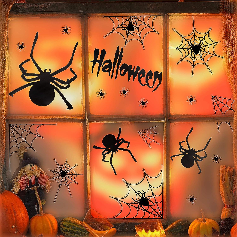 UNEEDE Halloween Decoration Spider Stickers Halloween Spider and Webs Wall Decals Vinyl Window Clings Set Halloween Eve Decor for Kids Rooms, Classrooms, Bedroom, Halloween Party