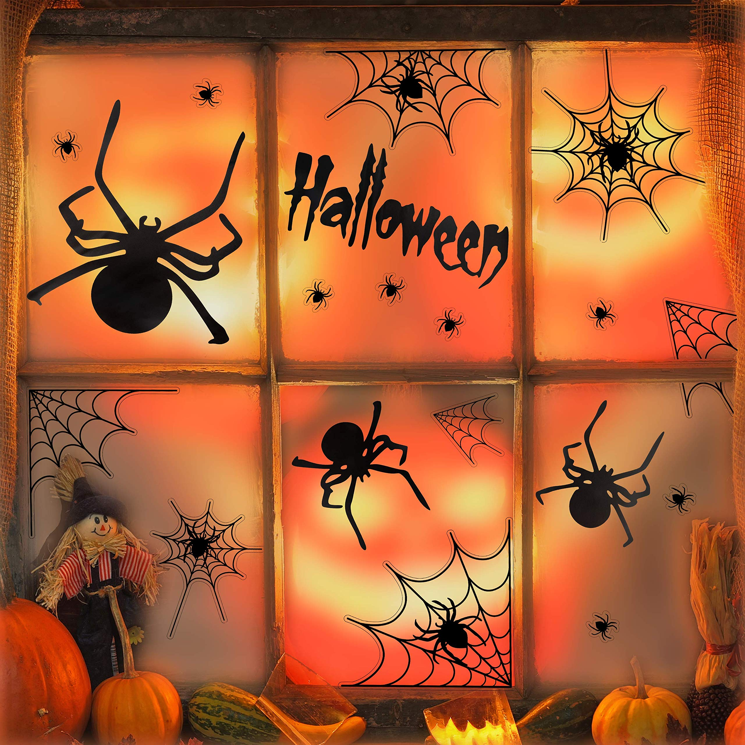 UNEEDE Halloween Decoration Spider Stickers Halloween Spider and Webs Wall Decals Vinyl Window Clings Set Halloween Eve Decor for Kids Rooms, Classrooms, Bedroom, Halloween Party by UNEEDE