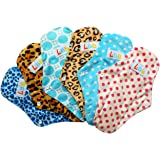 LBB(TM) Rusable Washable Bamboo Mama Cloth Menstrual Pads/Sanitary Pads/Panty Liners 10 Inch,6pcs pack