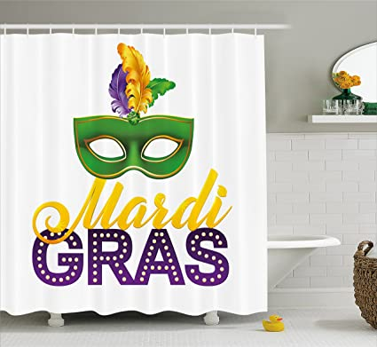 Ambesonne Mardi Gras Shower Curtain Stylized Calligraphy And Typography Carnival Mask With Feathers Print