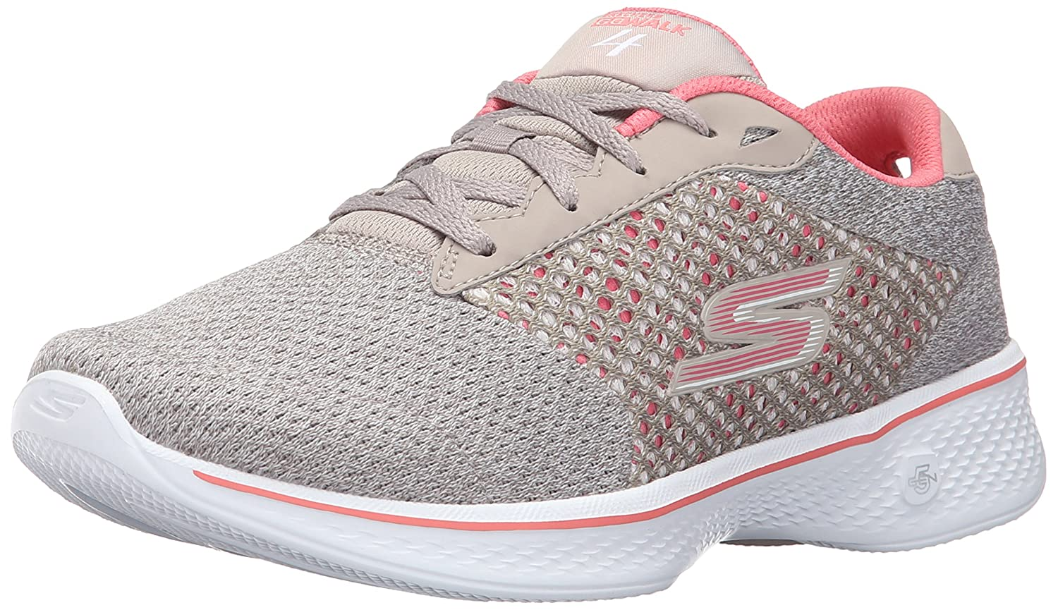 Skechers Performance Women's Go Walk 4 Exceed Lace-up Sneaker B01AH0B2XQ 8.5 B(M) US|Taupe/Coral
