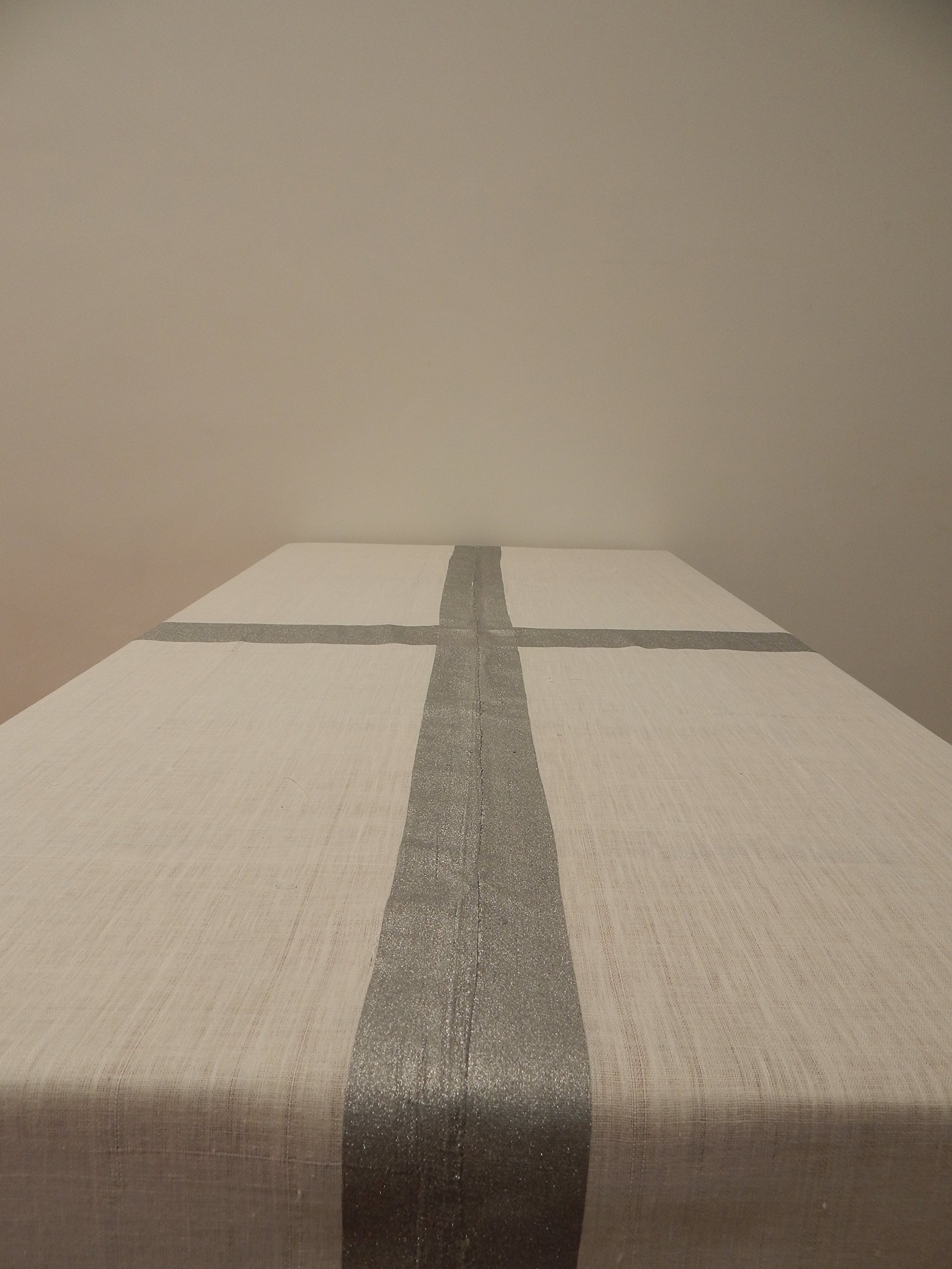 Gitika Goyal Home Cotton Khadi Silver Screen Printed Tablecloth with Border Design, White, 60'' x 90''