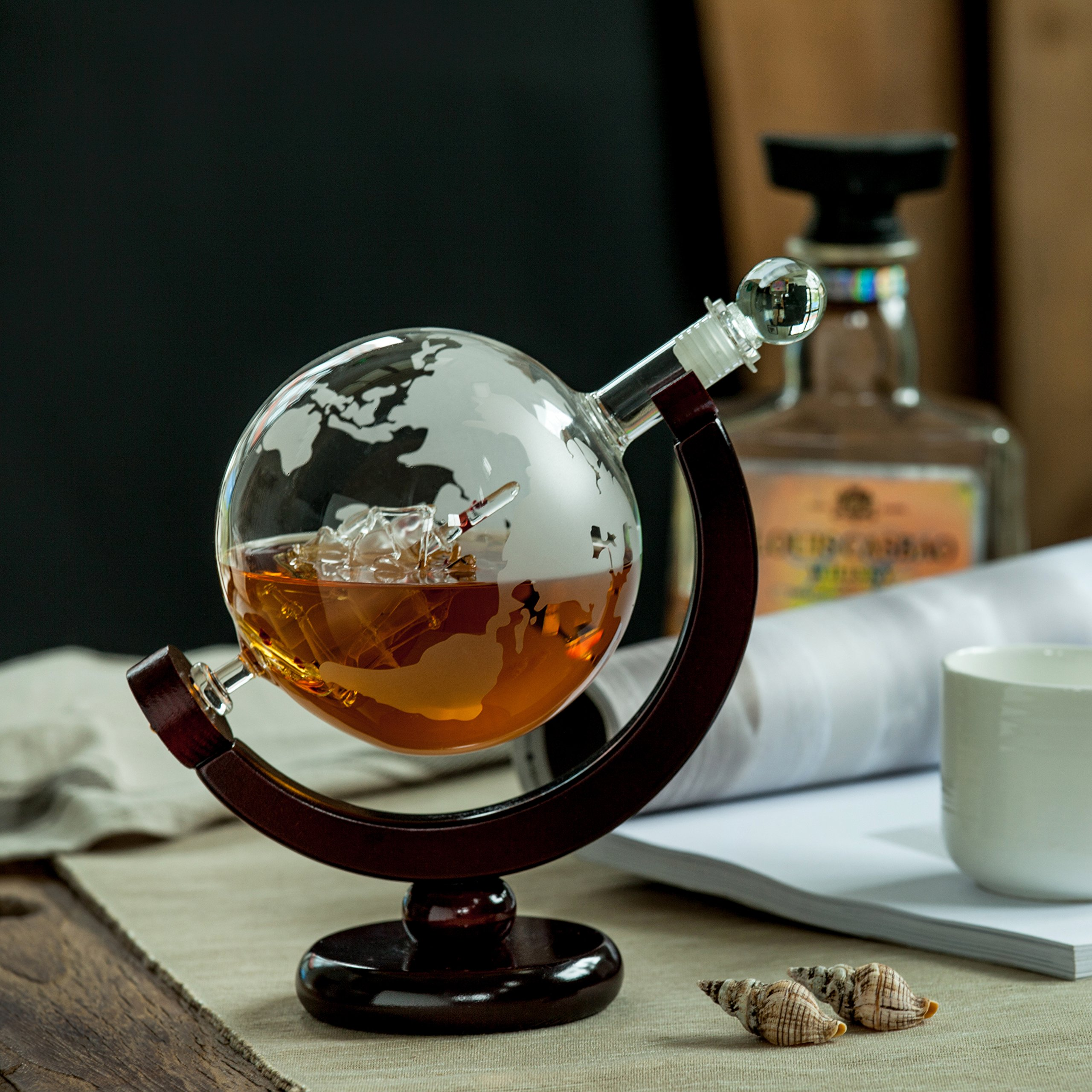 Whiskey Globe Decanter with Antique Dark Finished Wood Stand Bar Funnel 850ml Perfect Gift Set Scotch Liquor Bourbon Wine Vodka by ERAVINO (Image #6)