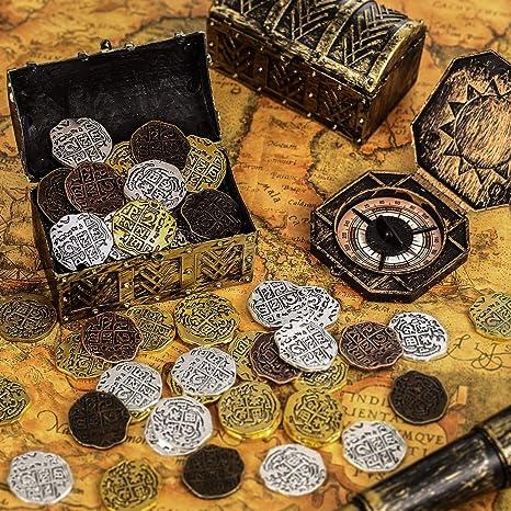 35 Piezas Monedas Piratas de Metal Doblón Español Réplicas Juguetes Moneda del Tesoro Pirata para Decoración de Favores de Fiesta, Bronce, Bronce Antiguo Rojo, Oro Antiguo y Plata Antigua: Amazon.es: Juguetes y