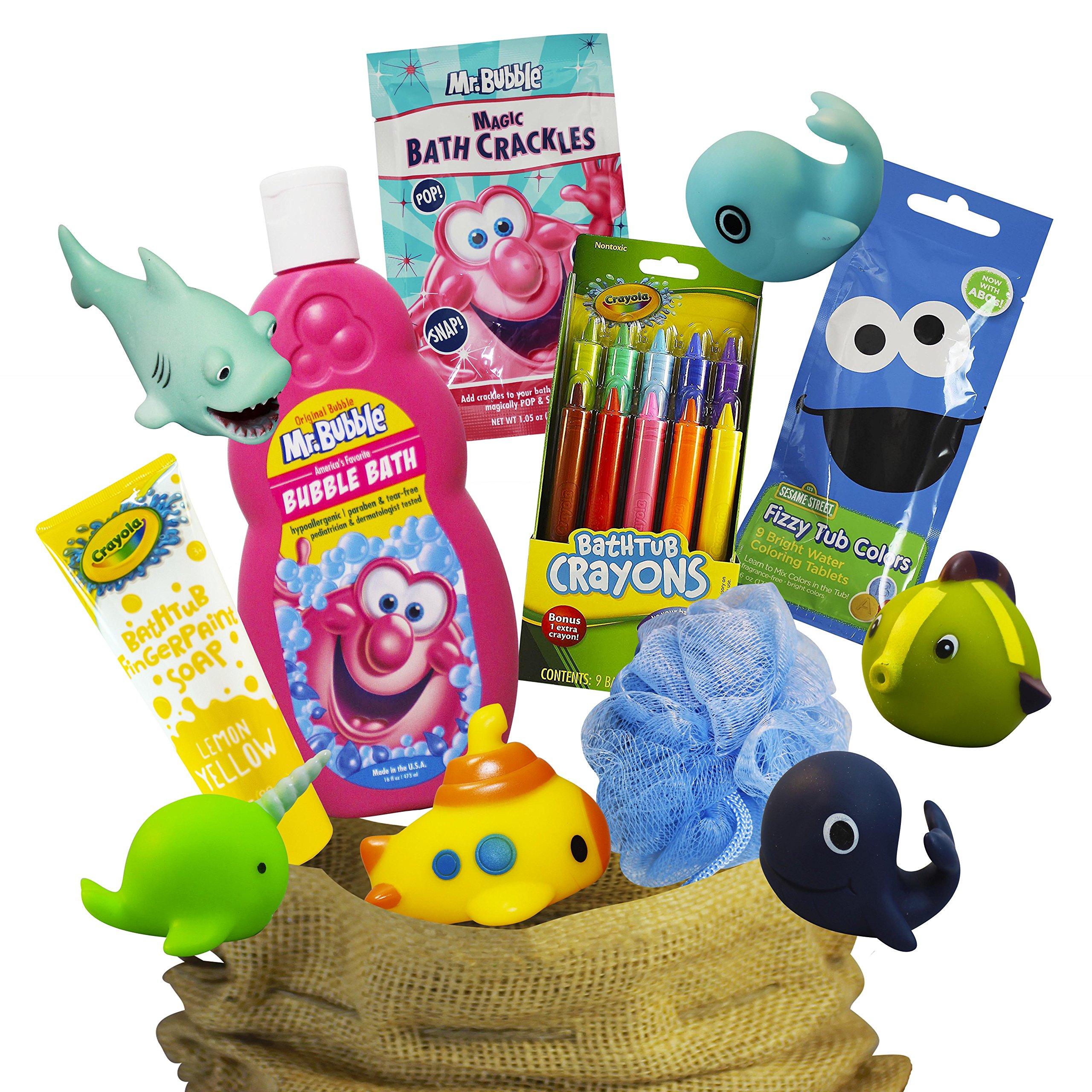Mr Bubble Bath Time Fun Set Featuring Mr Bubble Bath, Crayola Bath Tub Crayons, Mr Bubble Bath Crackles, Color Drops, Bath FIngerpaint, Body Pouf, and Bath Squirters