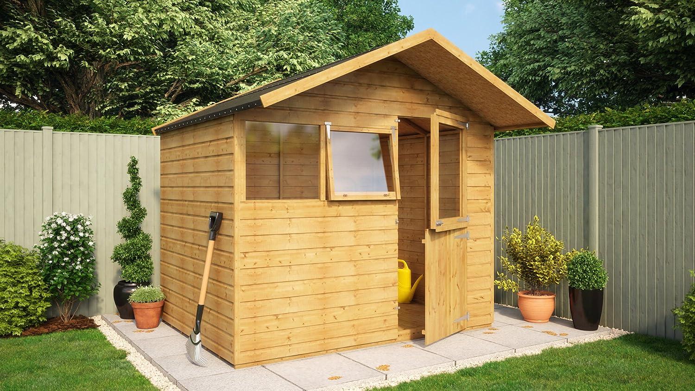 8 x 6 de madera cobertizo caseta de jardín puerta sólido central Apex techo Kent: Amazon.es: Jardín
