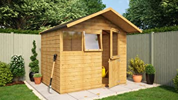 8 x 6 de madera cobertizo caseta de jardín puerta sólido central Apex techo Kent