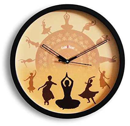 Cubikfeet Creations 11u0026quot; Indian Classical Dance Inspired Wooden Frame Decorative  Wall Clock With Glass Cover