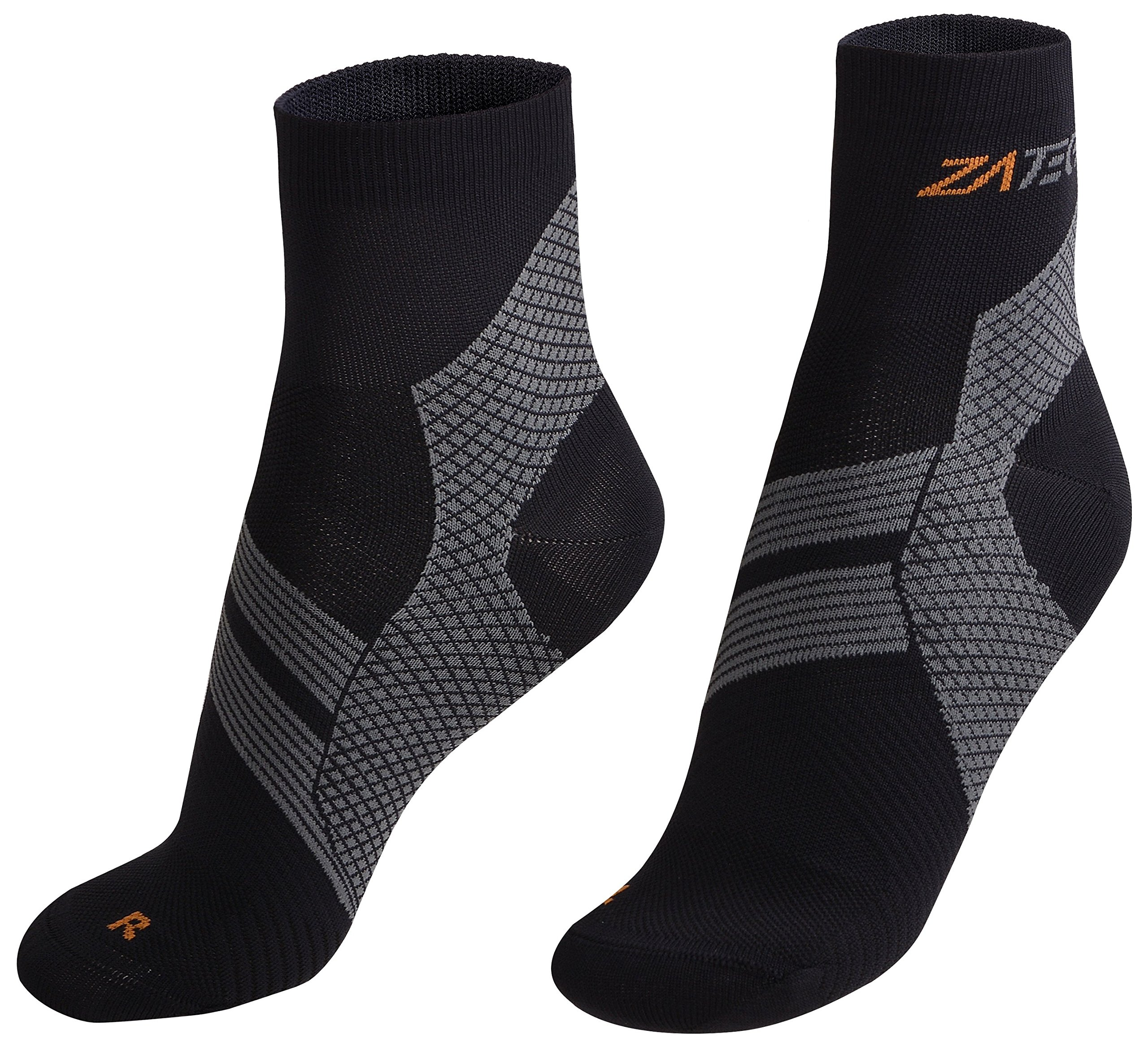 ZaTech Plantar Fasciitis Sock, Compression Socks for Men & Women. Heel, Ankle & Arch Support. Increase Blood Circulation, Reduce Swelling, Foot Pain Relief. (Black/Gray, Large)