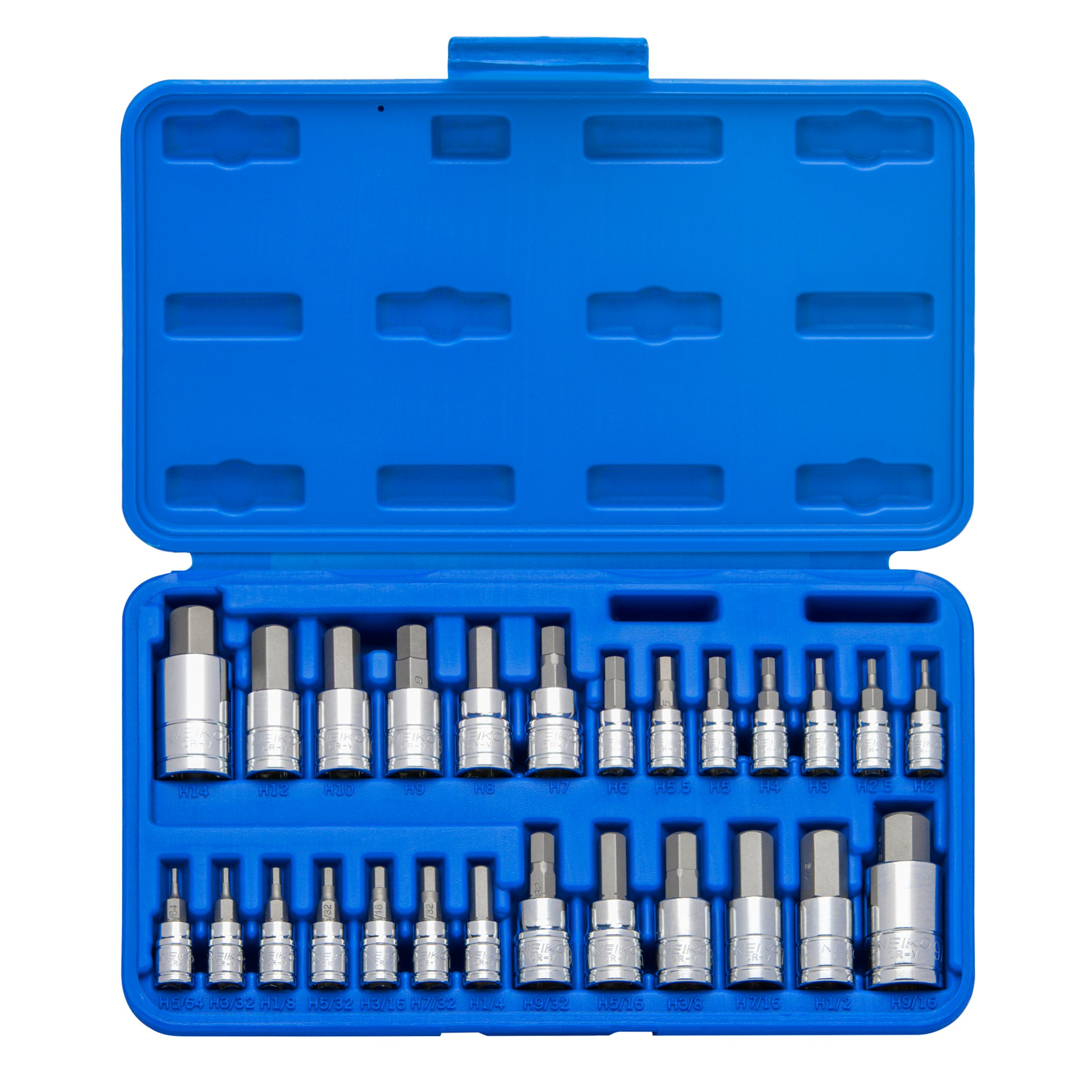 Neiko 01144A Tamper-Proof Hex Bit Socket Set, 26 Pieces | SAE 5/64-9/16'', Metric 2-14MM