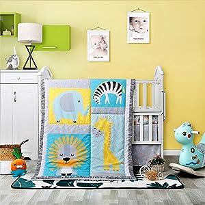 La Premura Safari Baby Nursery Crib Bedding Sets – Giraffes, Zebra, Elephants, Lions 3 Piece Standard Size Crib Set in Yellow, Turquoise & Gray