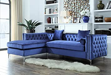 Iconic Home Da Vinci Tufted Silver Trim Navy Blue Velvet Left Facing Sectional  Sofa With Silver