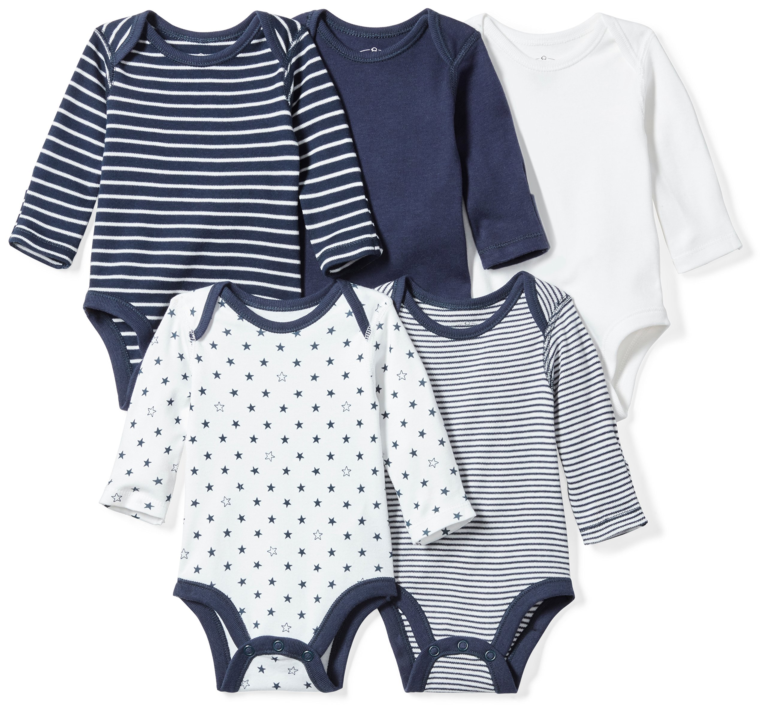 Moon and Back Baby Set of 5 Organic Long-Sleeve Bodysuits, Navy Sea, 12 Months