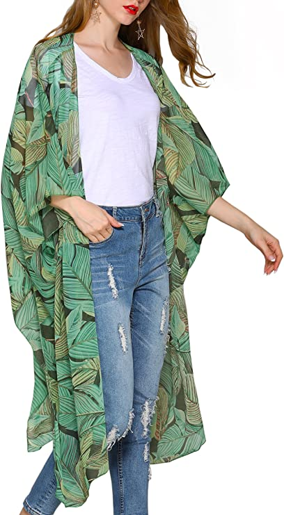 Hibluco Women's Floral Kimono Cardigan Sheer Tops Loose Blouse